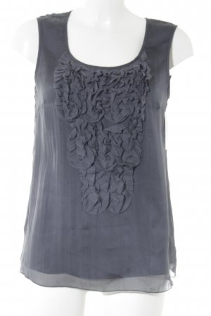 Hallhuber Donna Frill Top grey violet casual look
