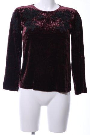 Hallhuber Donna Schlupf-Bluse rot-schwarz Blumenmuster Elegant