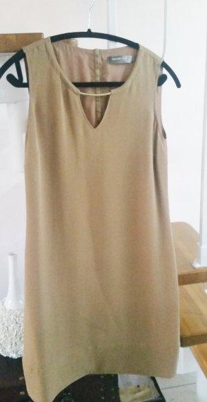 Hallhuber DONNA Seide Kleid Seidenkleid 34 XS beige camel gold