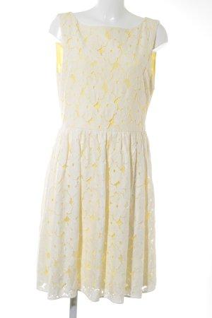 Hallhuber Donna Kanten jurk wit-geel Geweldige look