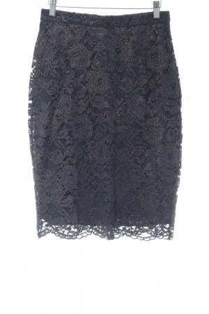 Hallhuber Donna Jupe en dentelle bleu foncé-or rose élégant