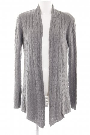 Hallhuber Donna Strick Cardigan hellgrau Zopfmuster Business-Look