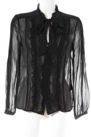 Hallhuber Donna Transparenz-Bluse schwarz Elegant