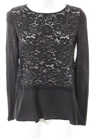Hallhuber Donna Transparenz-Bluse schwarz Spitzen-Optik
