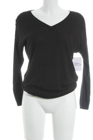 Hallhuber Donna V-Ausschnitt-Pullover schwarz schlichter Stil
