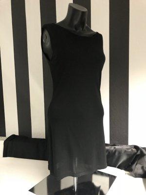 Hallhuber Mouwloze blouse zwart-taupe Gemengd weefsel