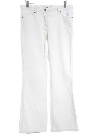 Hallhuber essentials Pantalon en velours côtelé blanc style décontracté
