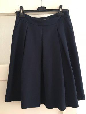 Hallhuber Jupe à plis bleu foncé