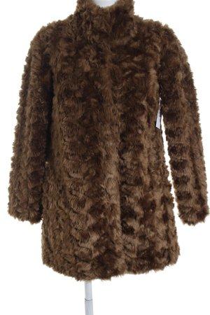 Hallhuber Veste en fourrure brun tissu mixte
