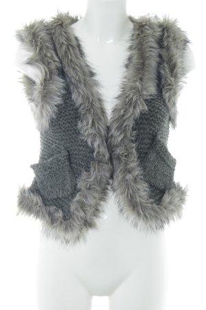 Hallhuber Gilet en fourrure gris clair style décontracté