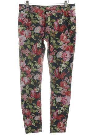 Hallhuber Pantalon cinq poches motif de fleur style décontracté
