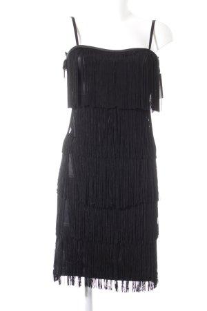 Hallhuber Robe à franges noir élégant