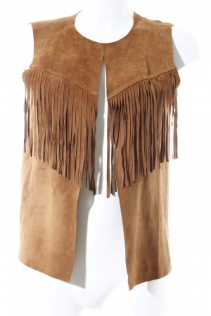 Hallhuber Fringed Vest camel country style