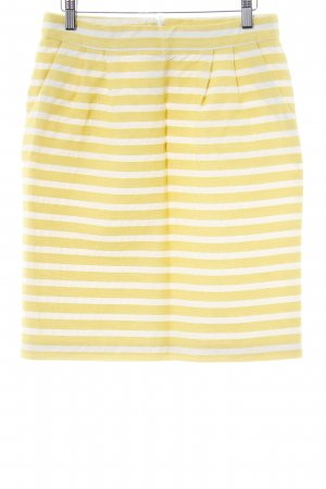 Hallhuber Jupe évasée jaune fluo-blanc cassé motif rayé style rétro