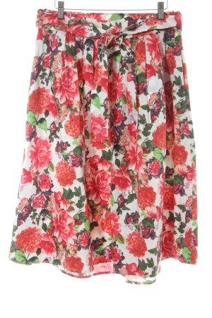 Hallhuber Falda acampanada rojo estampado floral estilo rockabilly