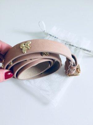Hallhuber Leather Belt dusky pink-sand brown leather