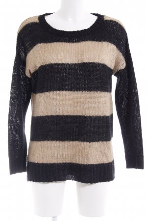 Hallhuber Crochet Sweater black-camel striped pattern casual look