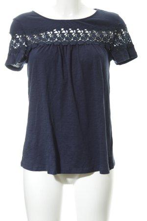 Hallhuber Top en maille crochet bleu foncé style décontracté