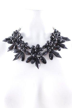 Hallhuber Halskette schwarz Blumenmuster Casual-Look