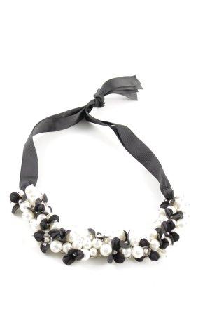 Hallhuber Halskette schwarz-weiß Blumenmuster Casual-Look