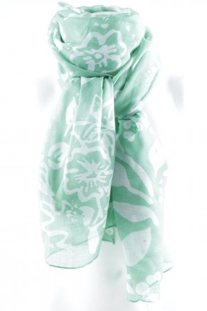 Hallhuber Neckerchief green-natural white flower pattern casual look