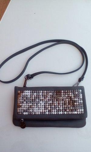 HALLHUBER Handtasche grau mit Nieten NEU