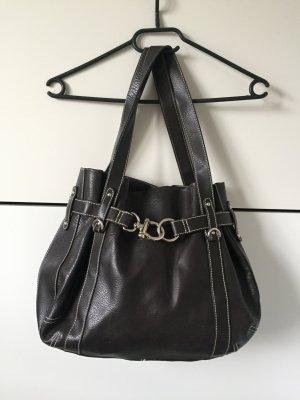 Hallhuber Handtasche Ledertasche Lederhandtasche echtes Leder Braun schwarzbraun