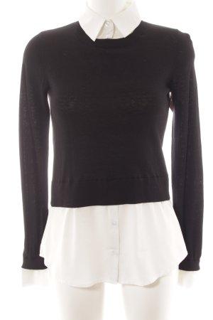 Hallhuber Hemd-Bluse schwarz-weiß Casual-Look