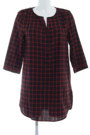 Hallhuber Vestido tipo blusón negro-rojo oscuro estampado a cuadros look casual