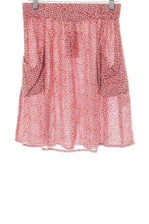 Hallhuber High Waist Skirt red-white flower pattern casual look