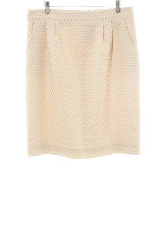 Hallhuber Falda de talle alto blanco-crema estampado a lunares elegante