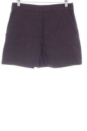 Hallhuber High-Waist-Shorts bordeauxrot-dunkelblau Monogram-Muster