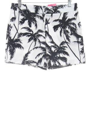 Hallhuber High-Waist-Shorts schwarz-weiß Motivdruck Beach-Look