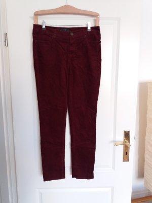 Hallhuber Pantalon en velours côtelé bordeau-rouge foncé coton