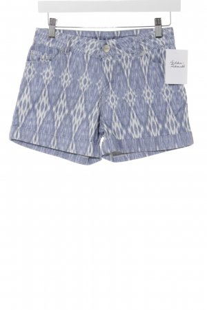 Hallhuber Hot Pants himmelblau-weiß Batikmuster Beach-Look