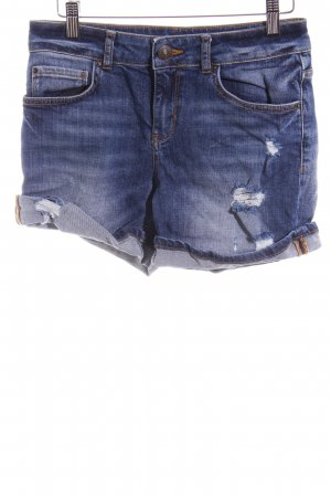 Hallhuber Hot Pants stahlblau Destroy-Optik