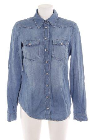 Hallhuber Chemise en jean bleu acier style décontracté