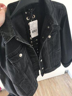Hallhuber Veste en jean noir-gris