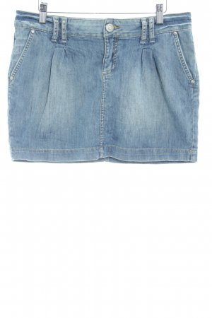 Hallhuber Jeansrock creme-graublau Jeans-Optik
