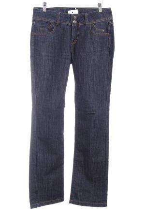 Hallhuber Jeansschlaghose ocker-dunkelblau Jeans-Optik