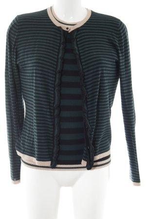 Hallhuber Jersey Twin Set schwarz-grün Streifenmuster Casual-Look