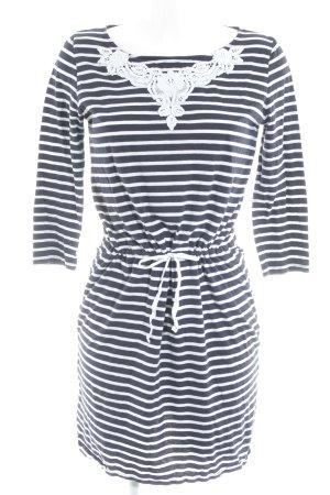 Hallhuber Jerseykleid dunkelblau-weiß Ringelmuster Casual-Look