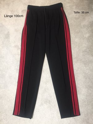 Hallhuber High Waist Trousers black-red synthetic fibre