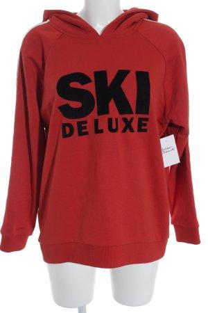Hallhuber Jersey con capucha rojo-negro letras impresas look casual