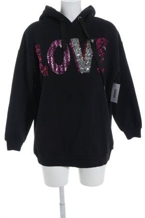 Hallhuber Jersey con capucha negro-rosa letras bordadas brillante