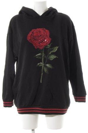 Hallhuber Jersey con capucha negro-rojo estampado floral estilo deportivo