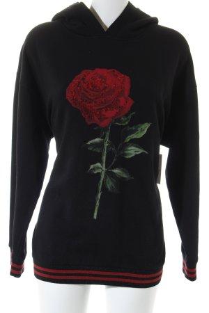 Hallhuber Jersey con capucha negro-rojo look casual