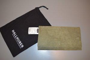 Hallhuber khakifarbene Wildlederclutch neu mit Staubb., NP: 89€