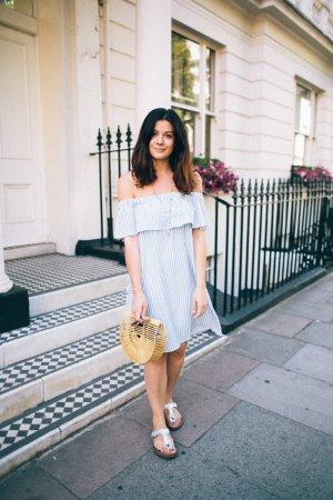 Hallhuber Off the shoulder jurk wit-lichtblauw