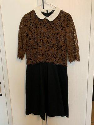 Hallhuber Kleid braun Kragen schwarz bubikragen 38